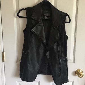 Faux Leather Suede Moto Biker Vest
